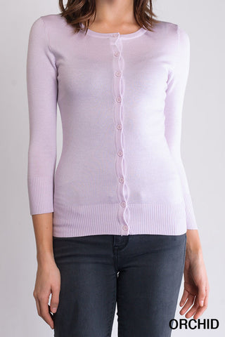 Peggy Jean 3/4 Sleeve PinUp Cardigan Orchid