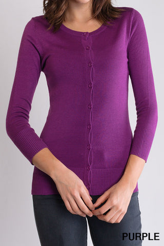 Peggy Jean 3/4 Sleeve PinUp Cardigan Purple