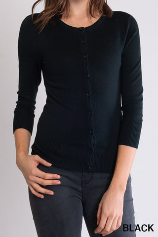 Peggy Jean 3/4 Sleeve PinUp Cardigan Black