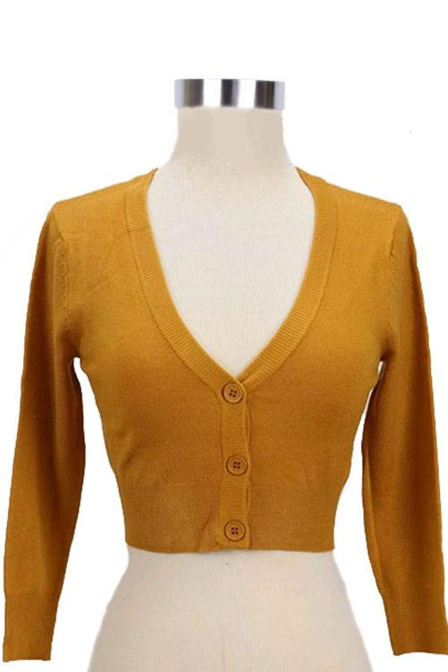 Peggy Sue Cropped PinUp Cardigan Bronze