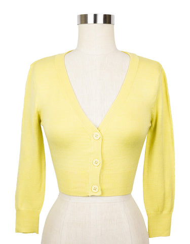 Peggy Sue Cropped PinUp Cardigan Custard Yellow