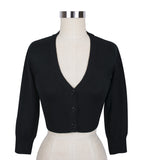 Peggy Sue Cropped PinUp Cardigan Black