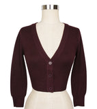 Peggy Sue Cropped PinUp Cardigan Burgundy