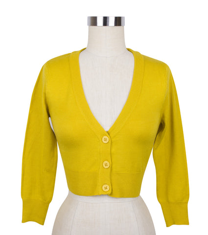 Peggy Sue Cropped PinUp Cardigan Honey Mustard