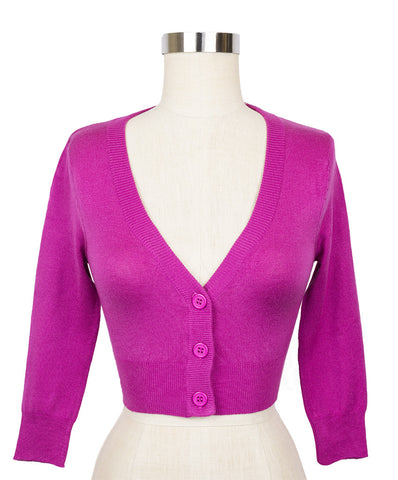 Peggy Sue Cropped PinUp Cardigan Magenta