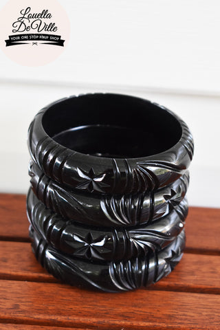 Audrey Black Starburst Carved Bangle