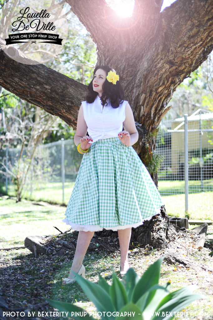 Louella DeVille Bettie Skirt Green Gingham