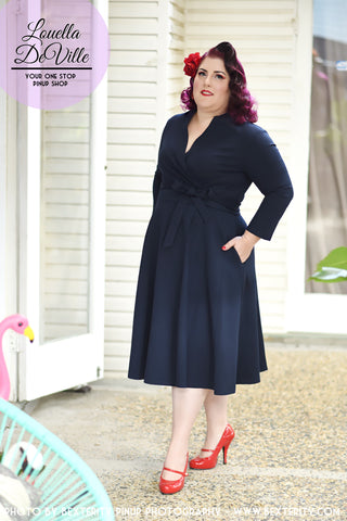 Louella DeVille Navy 3/4 Sleeve Josephine Wrap Dress **LIMITED EDITION**