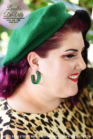 Slay All Day Green Marble Hoop Earrings