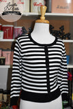 Peggy Jean 3/4 Sleeve PinUp Cardigan Ivory/Black Stripe