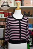Peggy Jean 3/4 Sleeve PinUp Cardigan Mauve/Black Stripe
