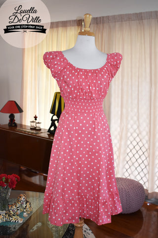 So Sweet Sara Lolly Pink Polka Dot Dress