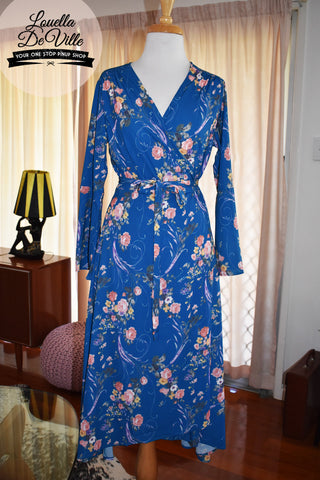 Amelia Summer Deco Wrap Dress Turquoise Floral Long Sleeve