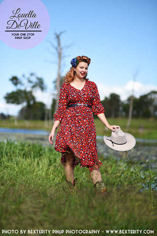 Sunshine Ruby Red Leopard Southern Day Dress