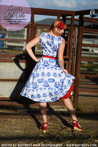 Sunshine 1950s Housewife Swing Dress Dainty Blue