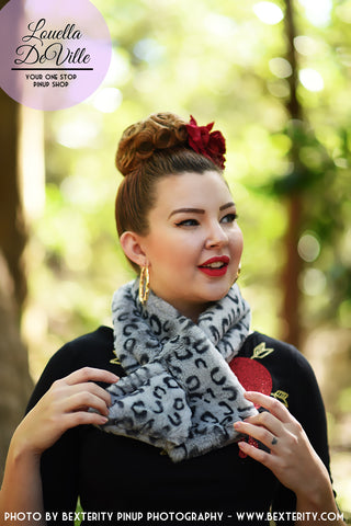 Faux Fur Collar Scarf Snow Leopard