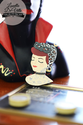 Louella DeVille Handmade Lady Lucille Tattooed Brooch (Various Colours!)