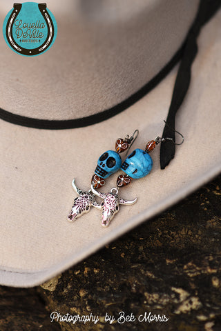 Louella DeVille Bull Skull Drop Earrings Turquoise