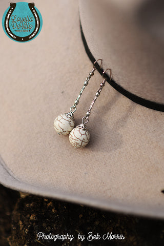 Ivory Drop Ball Hook Earrings