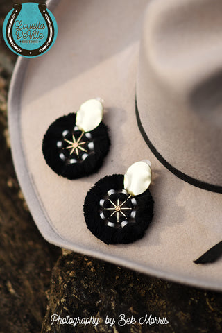 Lonestar Black Pinwheel Stud Earrings