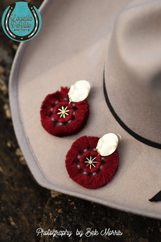 Lonestar Red Pinwheel Stud Earrings