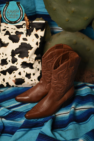 Recycled Rodeo Brown/Tan Stitched Cowgirl Boots