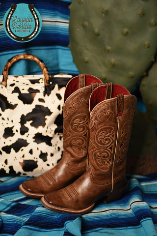 Pre Loved Ariat Tan & Red Cowboy Boots