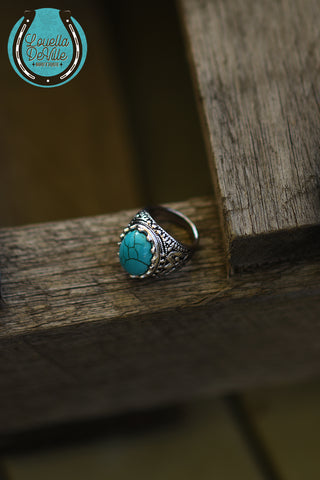 From The South Turquoise Natural Stone Silver Ring