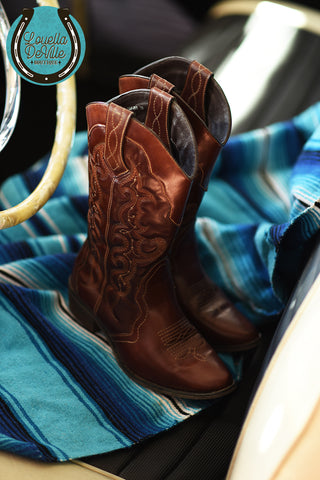 Recycled Rodeo Justin Tan & Turquoise Embroidered Leather Boots