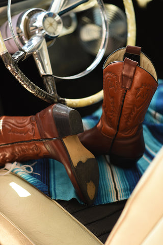 Recycled Rodeo Leather 2 Tone Brown & Tan Cowboy Boots