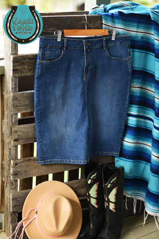 "Recycled Rodeo Denim Skirt - Waist 32"" - RD008"