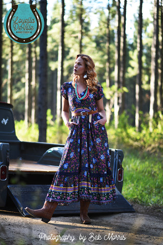 Sunshine Singing The Blues Floral Maxi Dress