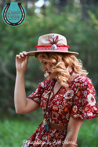 Louella DeVille Round Up Felt Hat Tan & Red Pom Pom