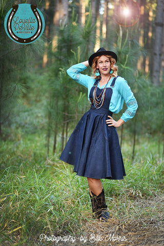 Louella DeVille Lurlene Dark Denim Pinafore Jump-Skirt
