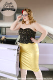 Collectif Polly Gold Lamé Wiggle Skirt