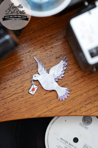 Louella DeVille Handmade Dove Of Love Premium Brooch