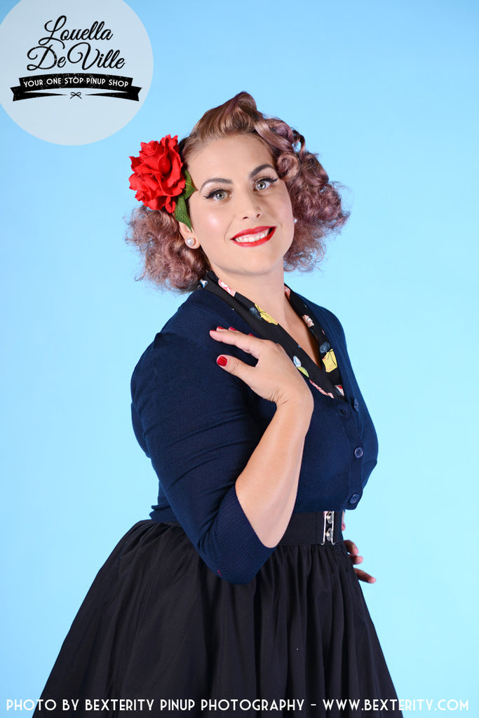 Peggy Sue Cropped PinUp Cardigan Navy