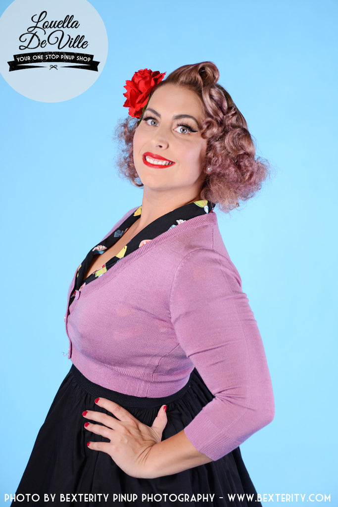 Peggy Sue Cropped PinUp Cardigan Orchid