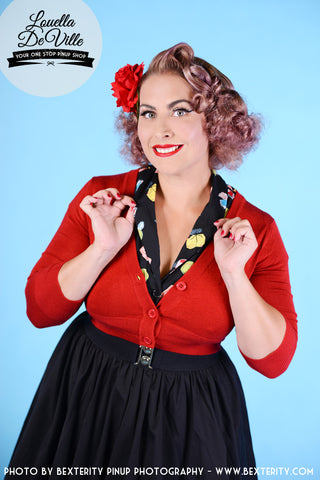 Peggy Sue Cropped PinUp Cardigan Red