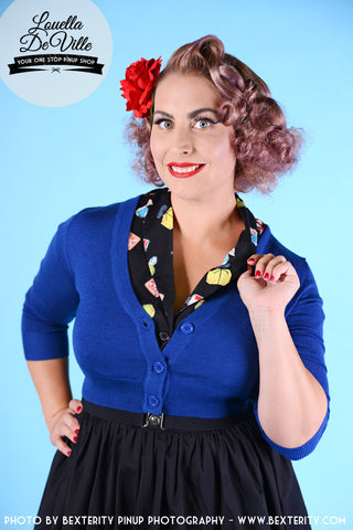 Peggy Sue Cropped PinUp Cardigan Royal Blue