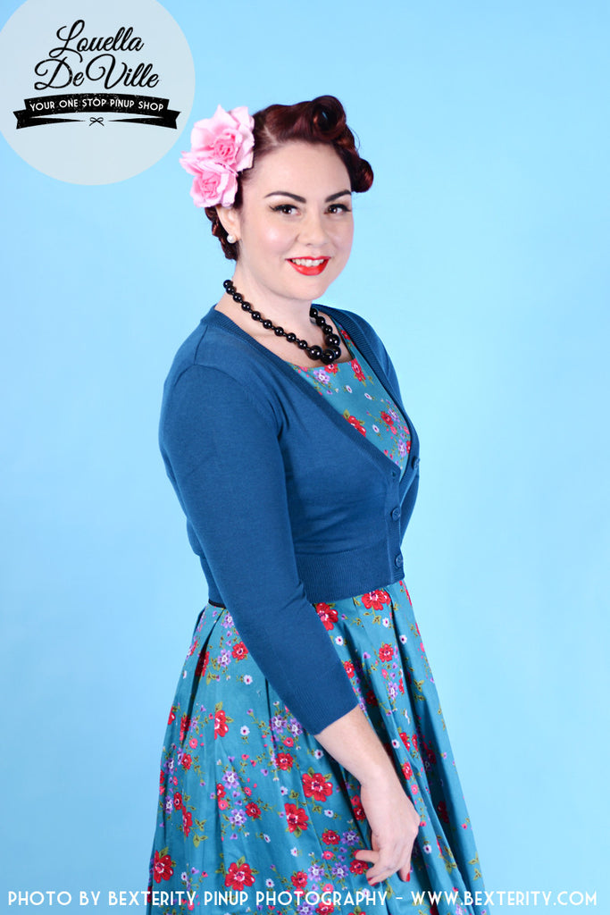 Peggy Sue Cropped PinUp Cardigan Teal