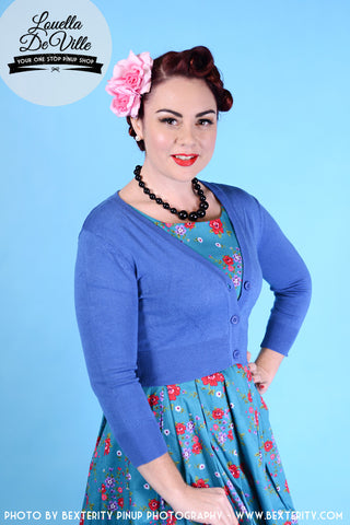 Peggy Sue Cropped PinUp Cardigan Viola/Periwinkle
