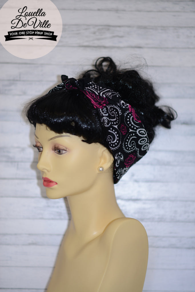 Cotton Bandana Head Scarf Black Roses