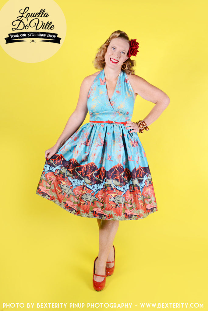 Lindy Bop Marilyn Volcano & Dinosaur Swing Dress