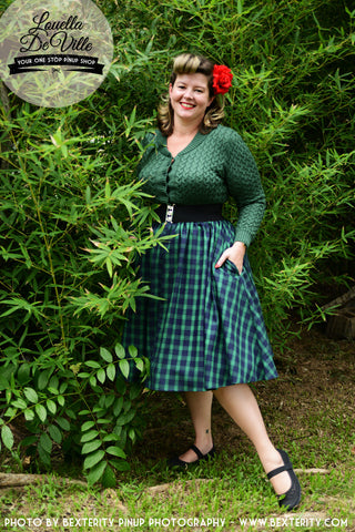 Louella DeVille Navy Green Plaid Tartan Bettie Skirt