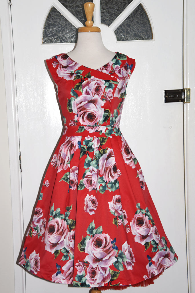 Tequila Sunrise Red Rose Race Time Swing Dress