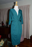 Monica Twist Tie Batwing Wiggle Dress Teal