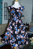 Timeless Black & Blue Paper Poppies Floral Swing Dress