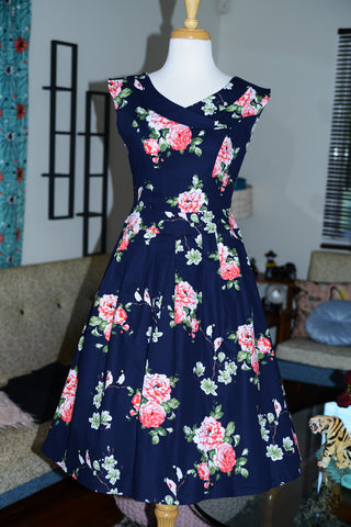 Timeless Navy & Pink Peonies Floral Swing Dress