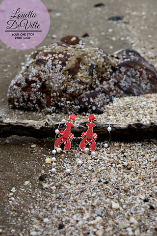 In A Pinch Acrylic Pearl Red Lobster Earrings